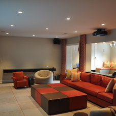 Contemporary Home Theater by Mills Custom Audio/Video