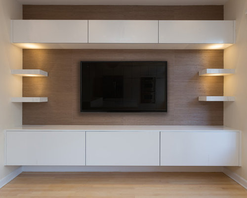 Example Of A Large Minimalist Open Concept Light Wood Floor Home Theater  Design In Chicago With
