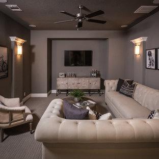 Trendy home theater photo in Dallas