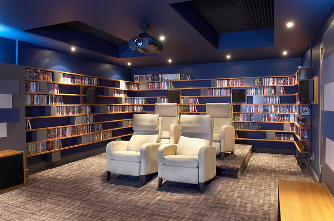 Contemporary Home Theater by Proscenium Design