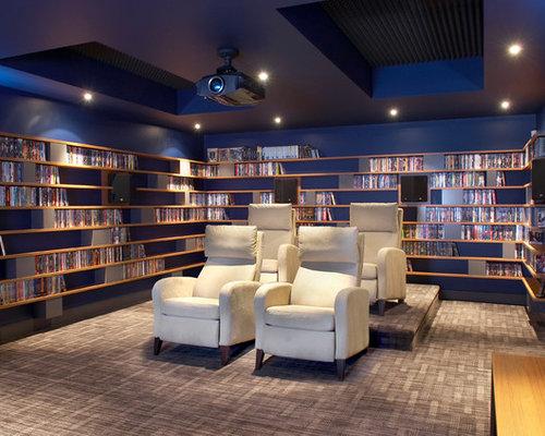 foto e idee per home theatre home theatre contemporaneo con pareti blu. Black Bedroom Furniture Sets. Home Design Ideas