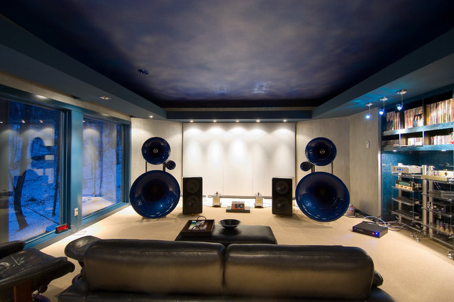 Contemporary Home Theater by Jaque Bethke for PURE Design Environments Inc.