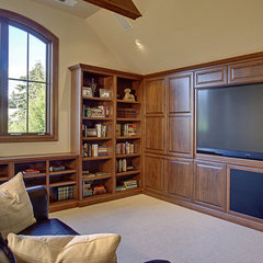 traditional media room by DME Construction