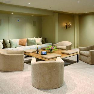Design ideas for a contemporary home cinema in New York.