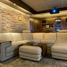 Modern Home Theater by Maria Deschamps Design