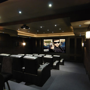 Example Of A Small Trendy Enclosed Carpeted Home Theater Design In Toronto  With Gray Walls And