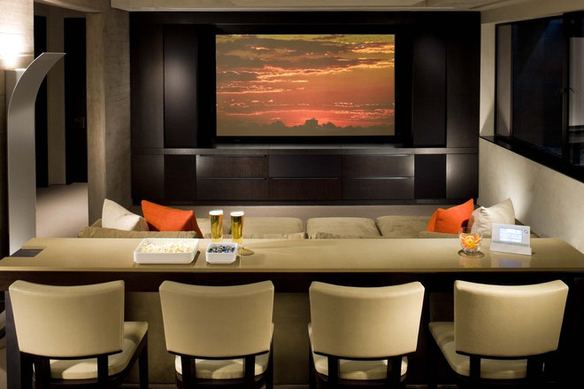 Contemporary Home Theater by b+g design inc.