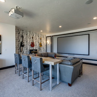 Inspiration for a transitional home theater remodel in Boise
