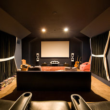 Contemporary Home Theater by Godfrey Design Consultants Inc