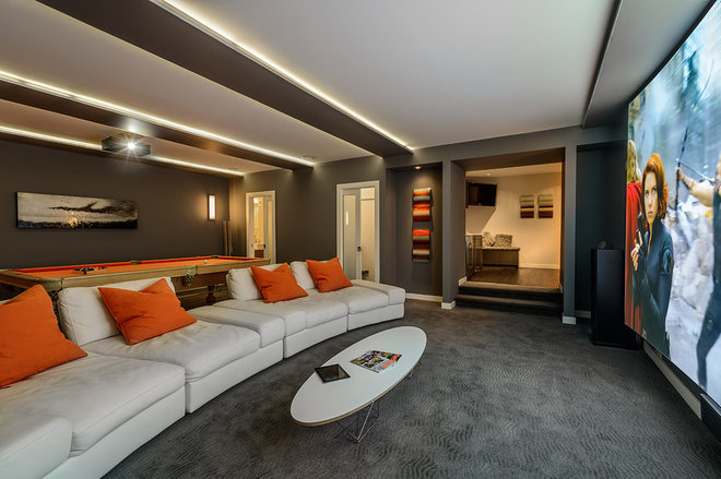 Contemporary Home Theater by Joshua Lawrence Studios INC