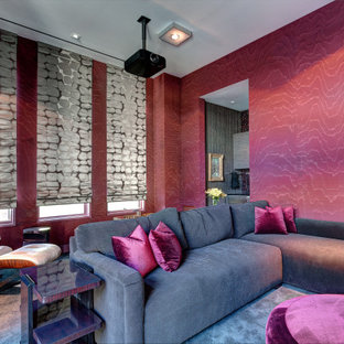Inspiration for a contemporary enclosed home theatre in Dallas with pink walls, carpet and grey floor.