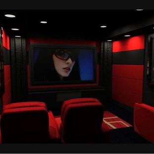 Ispirazione per un piccolo home theatre design chiuso con pareti rosse, moquette e schermo di proiezione