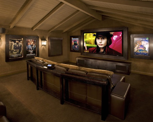 Best Rustic Home Theater Design Ideas & Remodel Pictures | Houzz