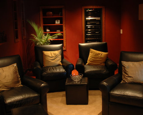 Small media room houzz for Small room movie theater