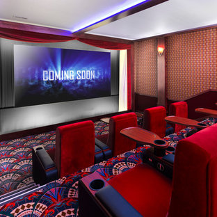 Elegant Enclosed Carpeted And Multicolored Floor Home Theater Photo In  Wichita With Multicolored Walls And A