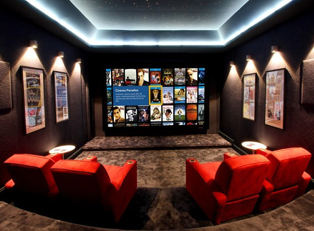 Contemporary Home Theater by Control4