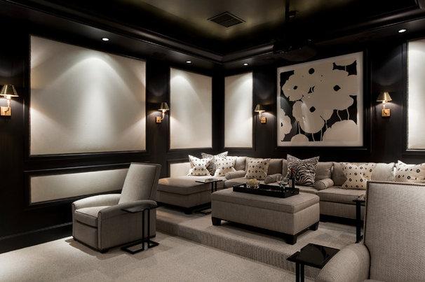 Traditional Home Theater by Eva Quateman Interiors