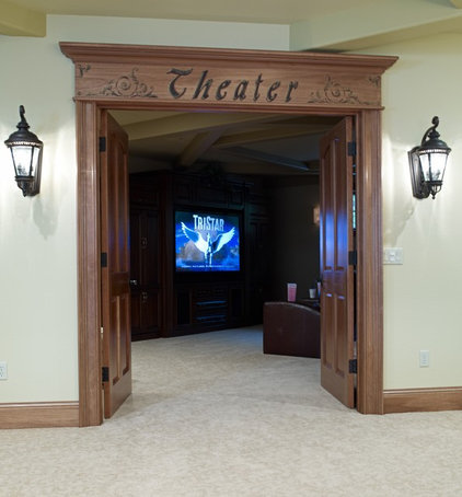 Traditional Home Theater by Katherine Elizabeth Designs