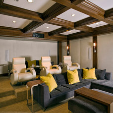 Transitional Home Theater by FRICANO CONSTRUCTION CO