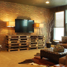 farmhouse media room by Judith Balis Interiors