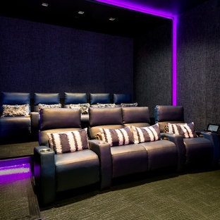 Mid Sized Trendy Enclosed Black Floor Home Theater Photo In Dallas With Walls