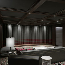 Contemporary Home Theater by Clark Gaynor Interiors