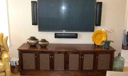Custom audio/video furniture + Monitor Audio speakers = Bliss