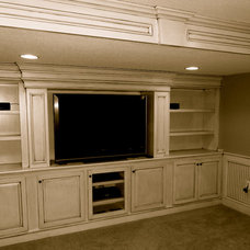 Traditional Home Theater by KC Basement Finishing