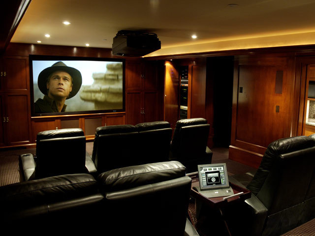 traditional media room by lascala.ca