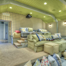 Eclectic Home Theater by ICO Custom Homes