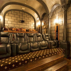 Mediterranean Home Theater by Q Home Designs