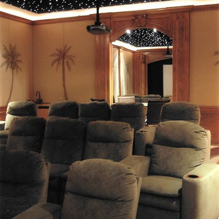 Home theater - tropical home theater idea in Orlando