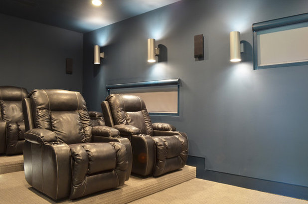 Contemporary Home Theater by Sarah Greenman