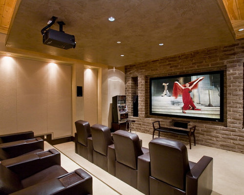 Merveilleux Home Theater   Traditional Carpeted And Beige Floor Home Theater Idea In  Phoenix With Beige Walls
