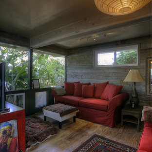 Example of a beach style home theater design in Santa Barbara