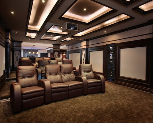 movie theater living room. Example of a transitional enclosed home theater design in Toronto with  projector screen Movie Theater Room Houzz
