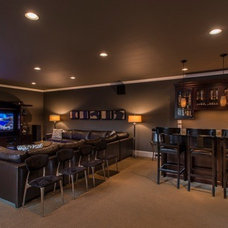 Mediterranean Home Theater by Signature Custom Homes