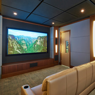Example Of A Transitional Enclosed Carpeted And Brown Floor Home Theater  Design In Miami With Gray