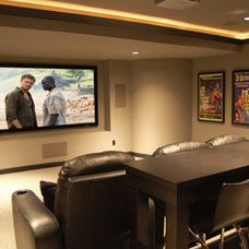 Contemporary Home Theater by Michigan Building Specialties