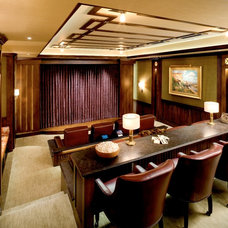 Transitional Home Theater by Bruce Kading Interior Design