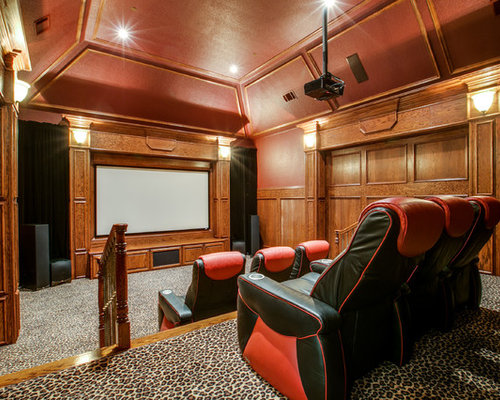 example of a classic enclosed home theater design in dallas with