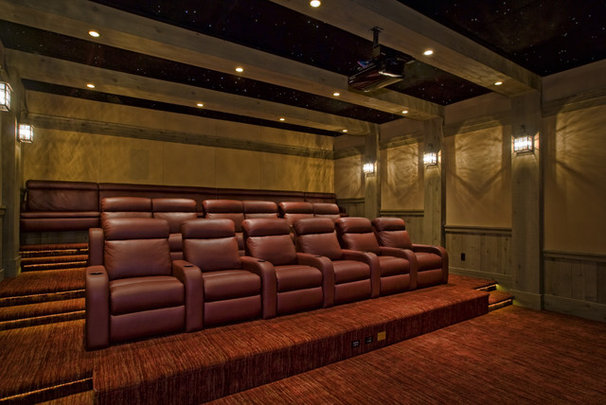 Eclectic Home Theater by Tradewinds General Contracting, Inc.