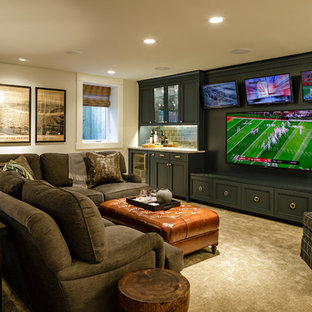 Example Of A Large Arts And Crafts Open Concept Carpeted And Beige Floor Home  Theater Design