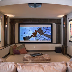 modern media room by Schrader & Companies