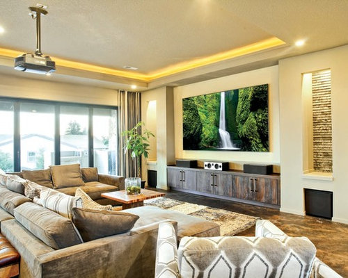 75 Trendy Yellow Home Cinema with a Wall Mounted TV Design Ideas ...
