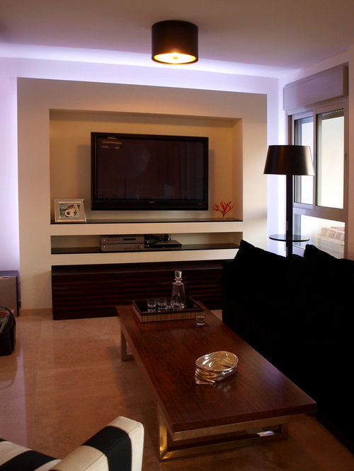 drywall entertainment center houzz. Black Bedroom Furniture Sets. Home Design Ideas