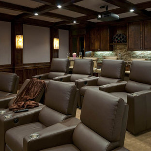 Transitional beige floor home theater photo in Dallas