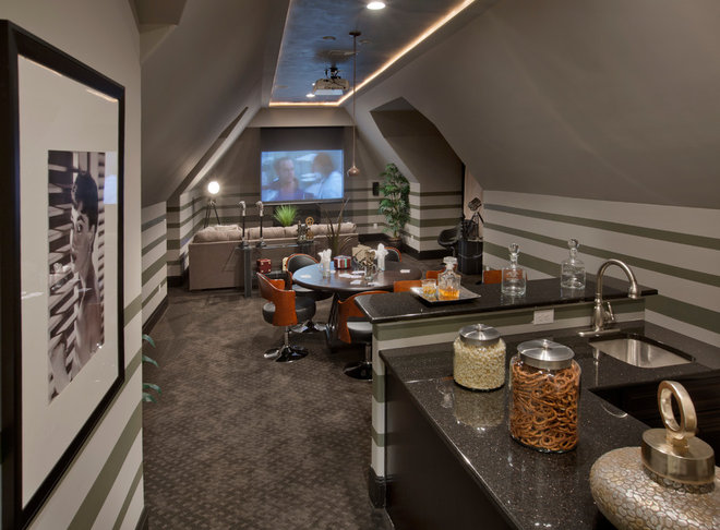 Contemporary Home Theater by Possibilities for Design Inc.