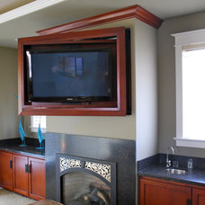 Traditional Home Theater by Castle Rock Construction