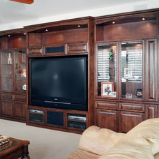 Transitional Home Theater by Pacific Coast Custom Design